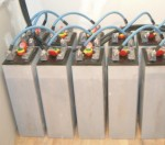 A battery bank of 2V cells