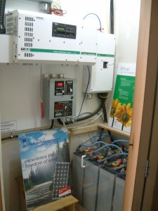 "Our ""Power Center"" with inverter, battery bank and charge controller"